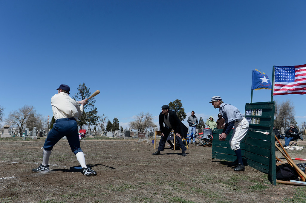 . DENVER, CO. - APRIL 14: The Central City Stars take on the Denver Blue Stockings in a vintage baseball game April 14, 2013 at  Riverside Cemetery in Denver. (Photo By John Leyba/The Denver Post)