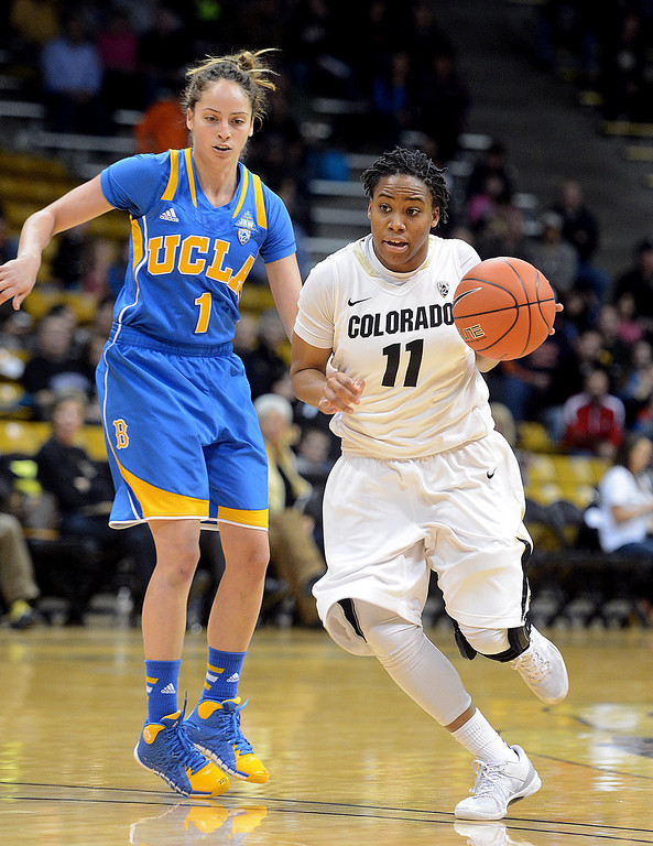 . Colorado\'s Brittany Wilson dribbles around UCLA\'s Thea Lemberger during the first half of an NCAA college basketball game Friday, Feb. 28, 2014, in Boulder, Colo. (AP Photo/Daily Camera, Cliff Grassmick)