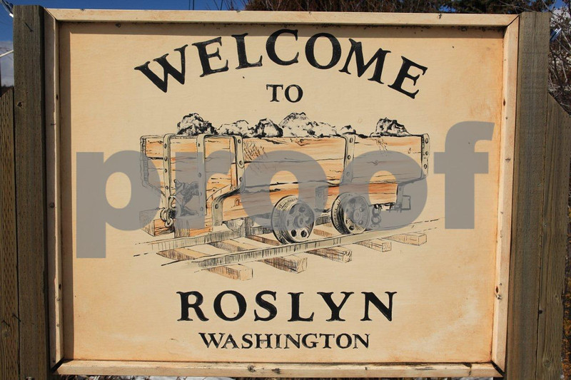 Welcome sign for Roslyn, WA.