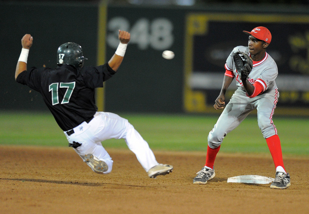. LONG BEACH - 04/24/13 - (Photo: Scott Varley, Los Angeles Newspaper Group)  Long Beach Poly vs Lakewood in a Moore League baseball game at Blair Field. Poly\'s Frankie Rios is thrown out trying to steal 2B as Manny Jefferson waits for the throw to end the 6th inning.