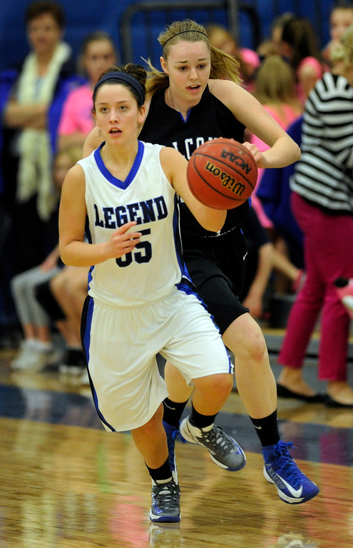 . PARKER, CO. - FEBRUARY 15: Legend guard Shelby Stovall (35) transitioned back to offense in the first half. The Legend High School girls\'s basketball team hosted Highlands Ranch Friday night, February 15, 2013. (Photo By Karl Gehring/The Denver Post)