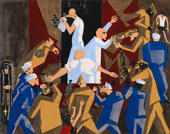 Jacob Lawrence, untitled [Sailors at a Bar] (1947)