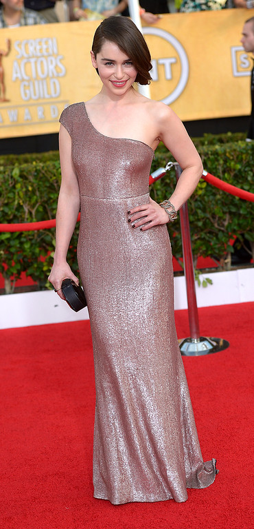 . Emilia Clarke arrives at the 20th Annual Screen Actors Guild Awards  at the Shrine Auditorium in Los Angeles, California on Saturday January 18, 2014 (Photo by Michael Owen Baker / Los Angeles Daily News)