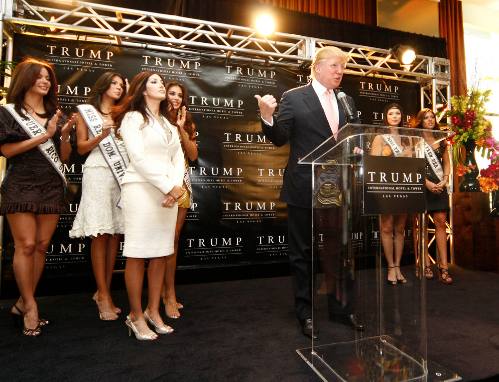 . Donald Trump speaks during the official opening of the now 6 star rated Trump International Hotel in Las Vegas April 11, 2008.  (Photo by Gene Blevins/L.A. Daily News)