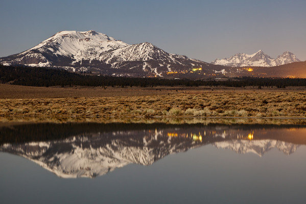 Mammoth Lakes lighted by a full moon - April 2012