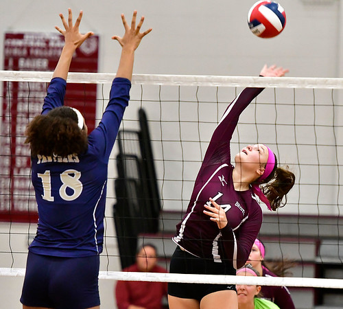 10/1/2019 Mike Orazzi | StaffrBristol Central's Kathryn Ross (14) during Tuesday's volleyball match with Platt at BC.