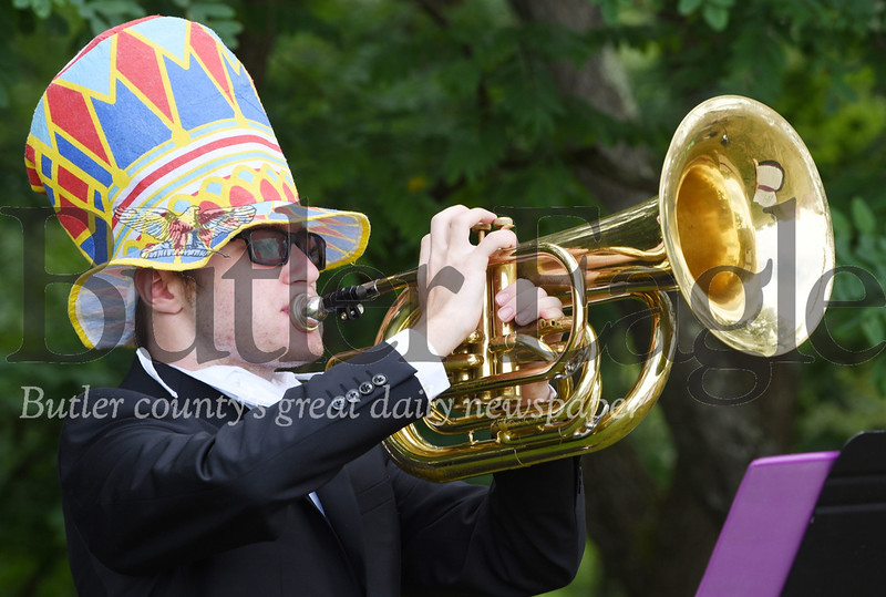 Harold Aughton/Butler Eagle: Luke Weiland, a rising 11th grader, chose to wear a colorful hat to circus day during Mars High School's band camp. Instrument: Baratone