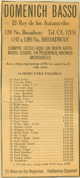 1930-35, Used Cars Flyer