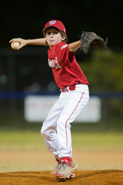 Luke pitching in the top of the 5th inning. The Nationals won their second game in a row to start the season with an 11-0 victory over the Twins. 2012 Arlington Little League Baseball, Majors Division. Nationals vs Twins (19 Apr 2012) (Image taken by Patrick R. Kane on 19 Apr 2012 with Canon EOS-1D Mark III at ISO 3200, f2.8, 1/250 sec and 300mm)