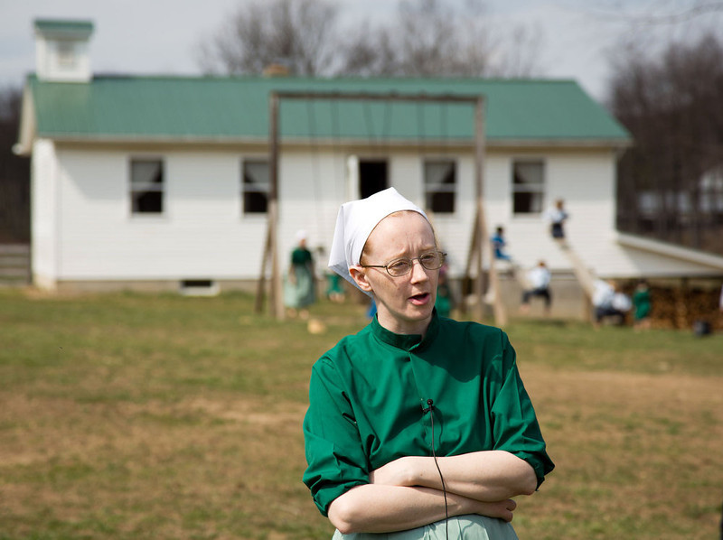 . Emma Miller answers questions during an interview in Bergholz, Ohio on Tuesday, April 9, 2013.  Miller was convicted and sentenced to prions for her role in the hair and beard cutting scandal against other Amish members.  (AP Photo/Scott R. Galvin)
