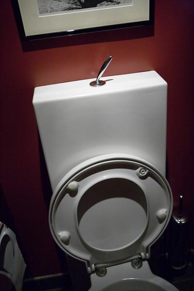 The bathroom was hidden behind a black door.  It had an interesting flush handle on the top.