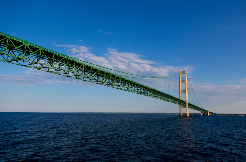 ... arching across the Straits of Mackinac.