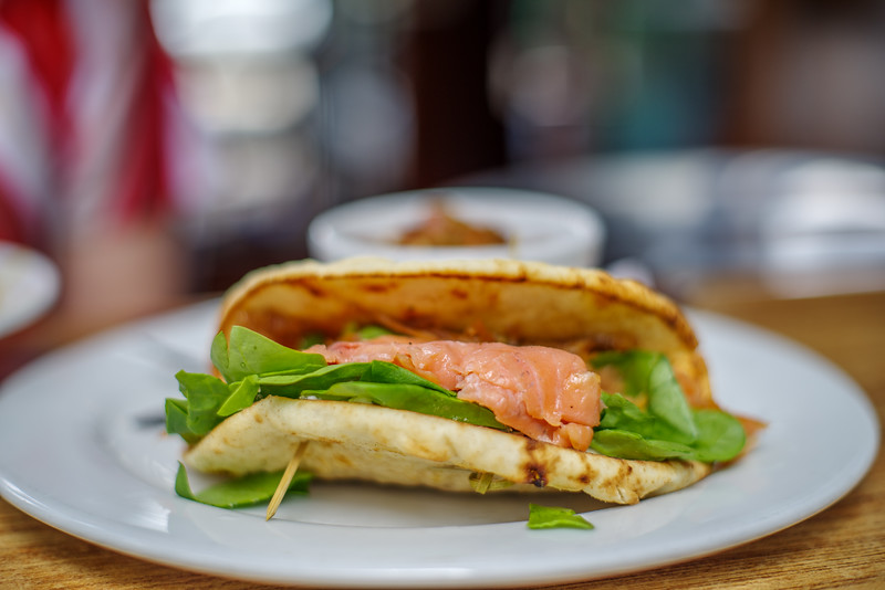 Salmon & Spinach on Pita