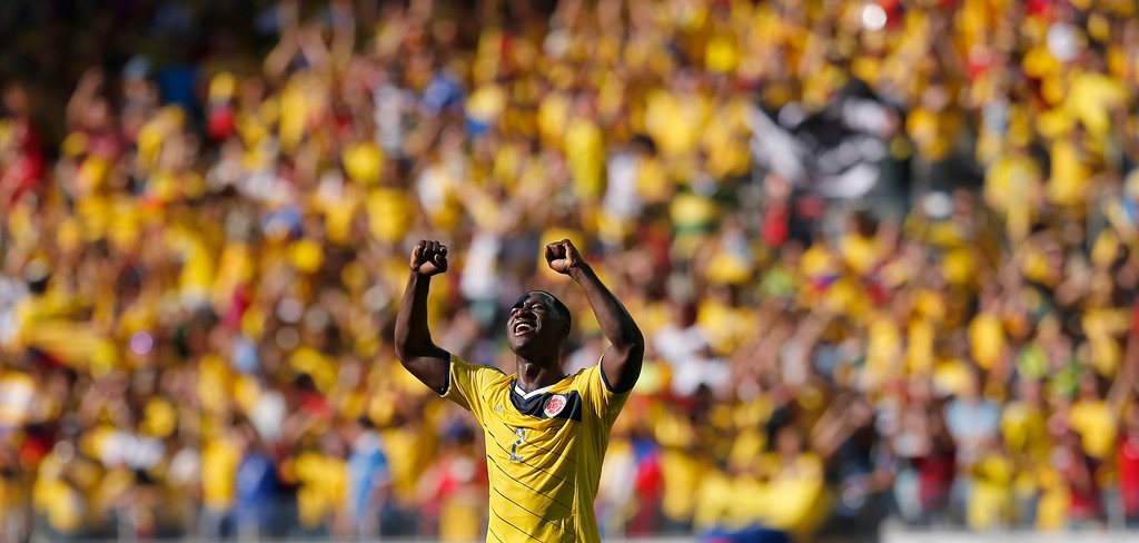 . Colombia\'s Cristian Zapata celebrates after the group C World Cup soccer match between Colombia and Greece at the Mineirao Stadium in Belo Horizonte, Brazil, Saturday, June 14, 2014.  Colombia won the match 3-0. (AP Photo/Frank Augstein)