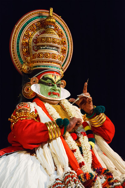 Kathakali dance. Bhava Bhavanam Festival. September 2009. Chennai, India. Kathakali is a famous dance-drama of south indian state of Kerala.  Arjuna (pacha) character.