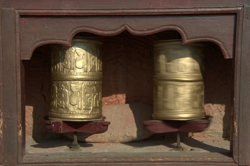 Spinning prayer wheels (Om Mani Padme Hum = love & compassion to all sentient beings)