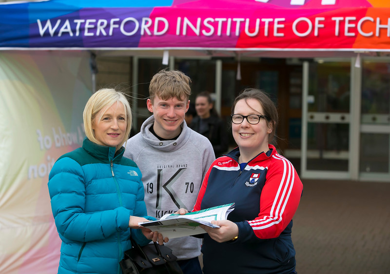 Pictured at the CAO Information Evening at WIT Main Campus are Dierdre and Aaron Kearney from Portlaw, Waterford with Student Ambassador Nora Gordon. Picture: Patrick Browne  The event gave school leavers, parents, mature students a chance to learn more about areas of study they're interested in and learn about student life at WIT. The evening featured: lecturers were available to talk about specific course information; current students were on hand to talk about their college experiences; fees and grants and student supports information; chance to take a tour of the campus and facilities; book on-campus accommodation.   Elaine Larkin, PR Executive, WIT 051-845577