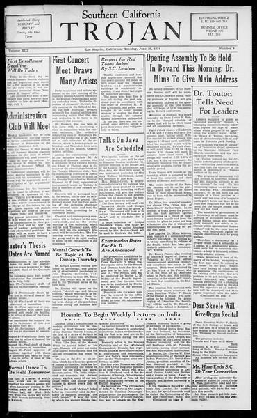 Southern California Trojan, Vol. 13, No. 3, June 26, 1934