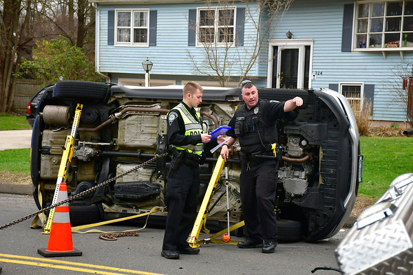 4/18/2019 Mike Orazzi | Staff The scene of a one-car rollover at the intersection of Loper Street and Annelise Avenue in Southington on Thursday afternoon. The driver was extricated and transported from the scene. No more information was available.
