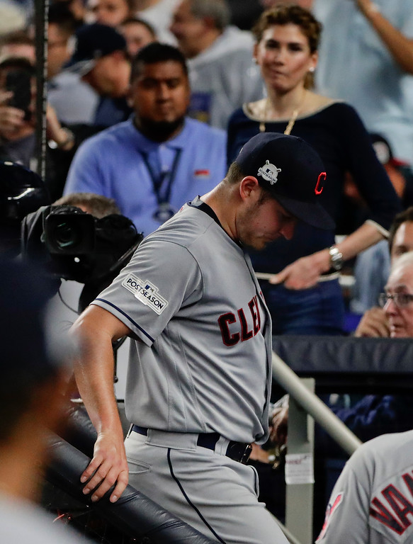 . Cleveland Indians pitcher Trevor Bauer, leaves the game against the New York Yankees during the second inning in Game 4 of baseball\'s American League Division Series, Monday, Oct. 9, 2017, in New York. (AP Photo/Frank Franklin II)