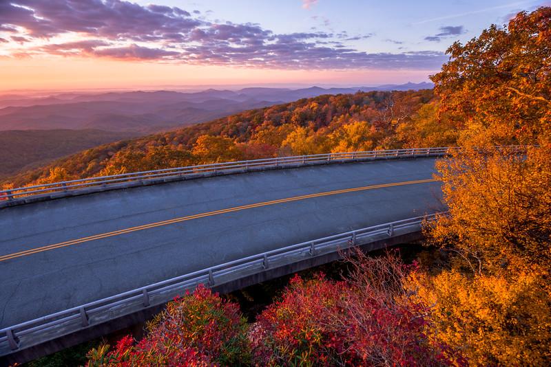 Fall Sunrise over Linn Cove Viaduct