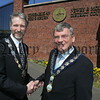 Mayor Michael Carr is pictured with John Dooley Mayor of Nelson USA during a visit to the Council Offices on Monday. John is a Native of Forkhill. 07W18N13