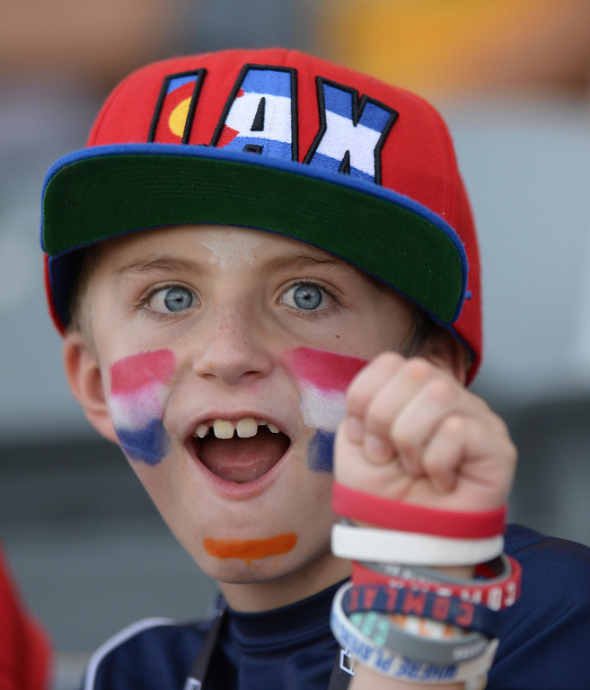. COMMERCE CITY, CO - JULY 17: Dominic Jennings was excited for the game Thursday night. Team USA faced Australia in a FIL World Championship semifinal game Thursday night, July 17, 2014.  Photo by Karl Gehring/The Denver Post