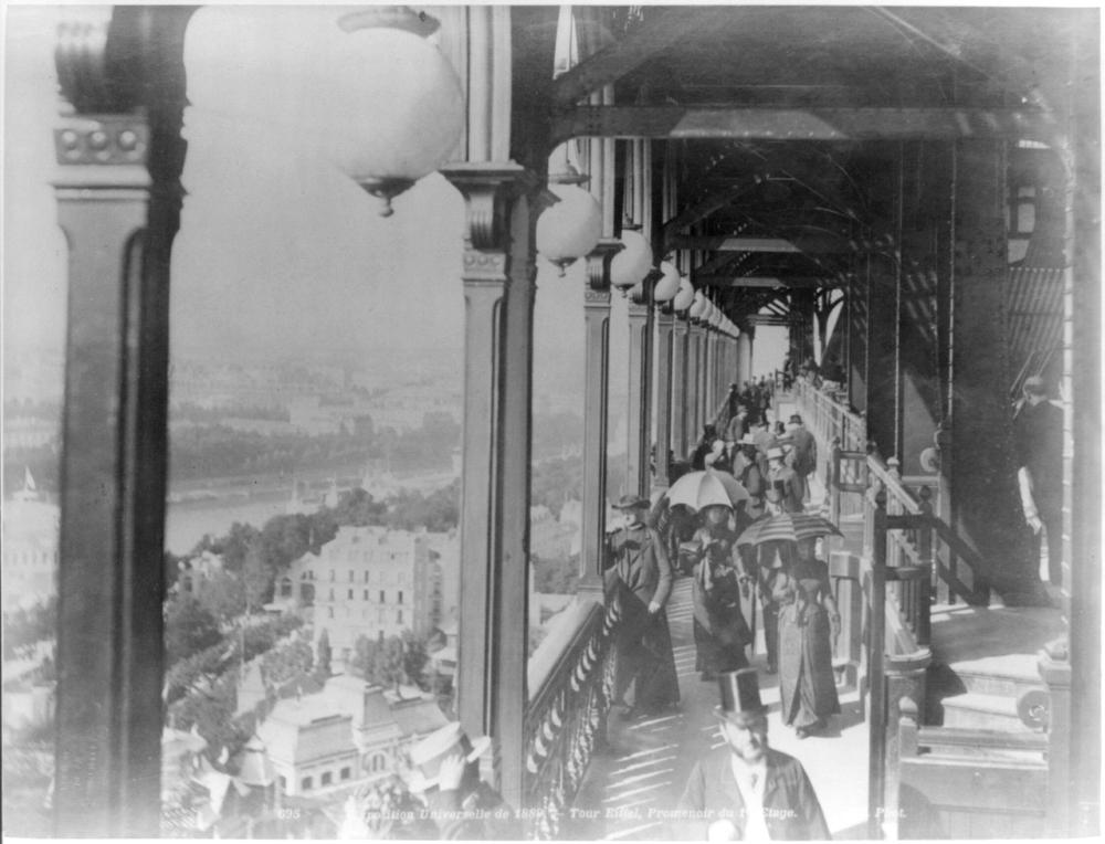 . First floor promenade, Eiffel Tower, Paris Exposition, 1889 (Library of Congress Prints and Photographs Division)