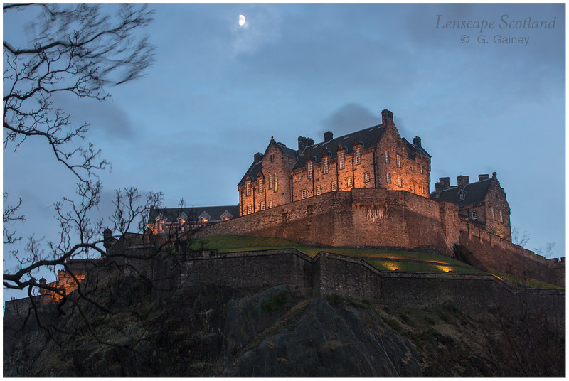 Edinburgh Castle at dusk, from Princes Street Gardens