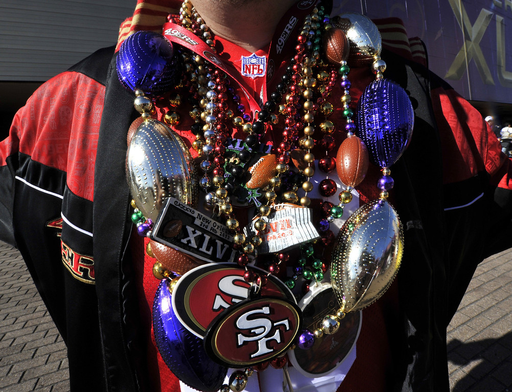 . A San Francisco 49ers fan poses outside the Mercedes-Benz Superdome in New Orleans before the start of Super Bowl XLVII between the San Francisco 49ers and the Baltimore Ravens on February 3, 2013.    TIMOTHY A. CLARY/AFP/Getty Images