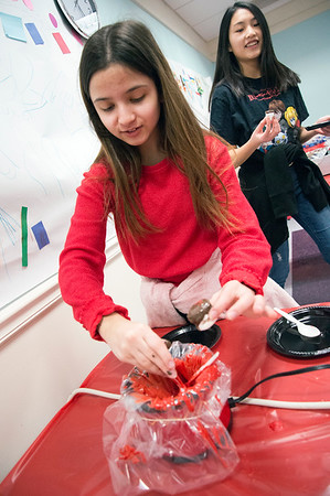 02/14/20 Wesley Bunnell | StaffrrThe Plainville Public Library held candy making during the afternoon in different sessions for K through teenagers. Janessa Freitas, age 15, gets ready to drizzle melted red chocolate onto a covered marshmallow.