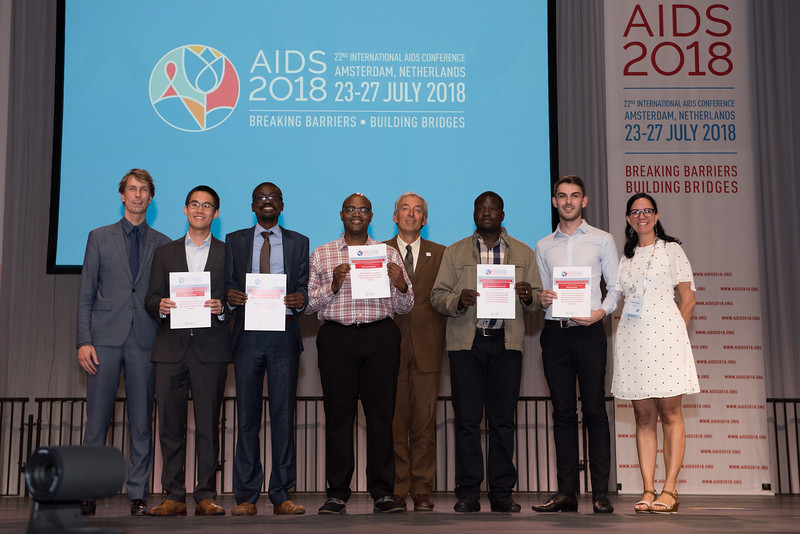 22nd International AIDS Conference (AIDS 2018) Amsterdam, Netherlands   Copyright: Marcus Rose/IAS  Photo shows: Lange/Van Tongeren Prizes (IAS/ANRS) for Young Investigators. Johnathan Cheng, Kalonde Malama,  Shaheed Abdulhaqq, Francis Matthew Simmonds, Michael Traeger.