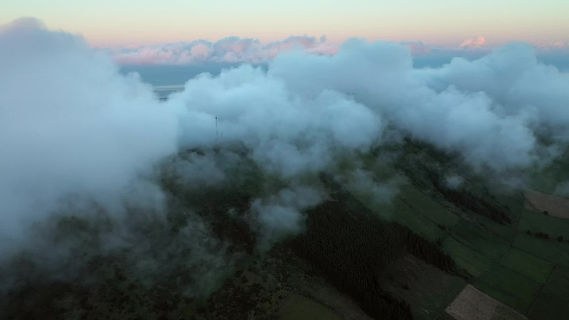 Available in 4K - Dramatic video clip scene of low clouds over the Miradouro da Serra do Cume, The Azores