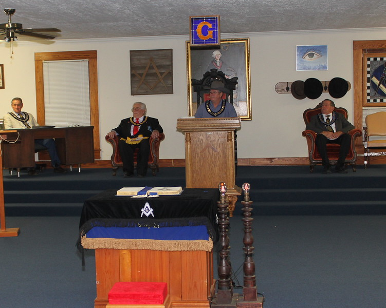 L-R W:B: Mike Lang, Treas.; W:B: James Blossman, DGL 14th Masonic District; WM Richard McNeese; W:B: Bill Lang, Chaplin