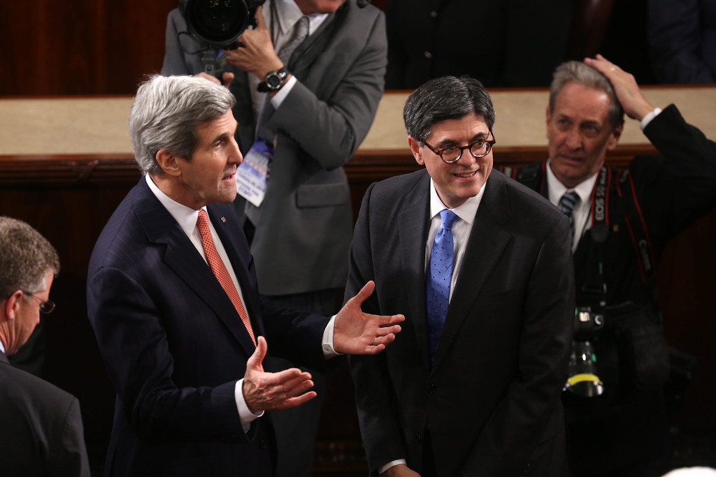 . US Secretary of State John Kerry (L) talks with US Secretary of Treasury Jacob Lew prior to US President Barack Obama\'s State of the Union address before a joint session of Congress on the floor of the US House of Representatives in the US Capitol in Washington, DC, USA, 28 January 2014.  EPA/JIM LO SCALZO