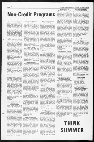 University College and Summer Session News, Vol. 3, No. 2, March, 1973