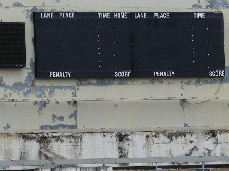 Obviously an imported scoreboard from another sport at the swimming pool - Olympic Stadium complex.