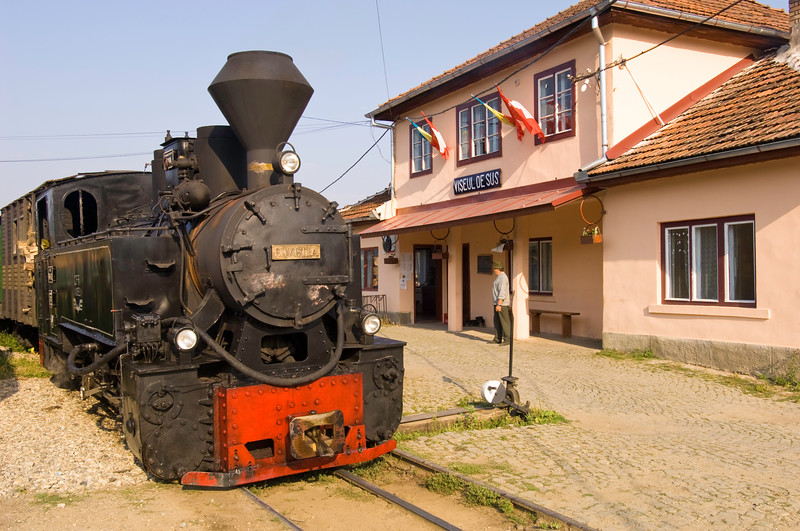 Steam locomotive of a logging train before departure, Viseu de S