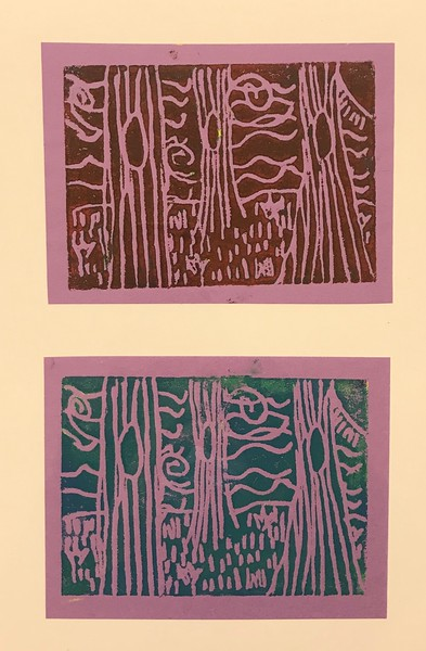 """Lia Kenworthy, grade 3 """"Environments for Where the Wild Things Are"""" printing ink on colored paper 2""""x4"""""""