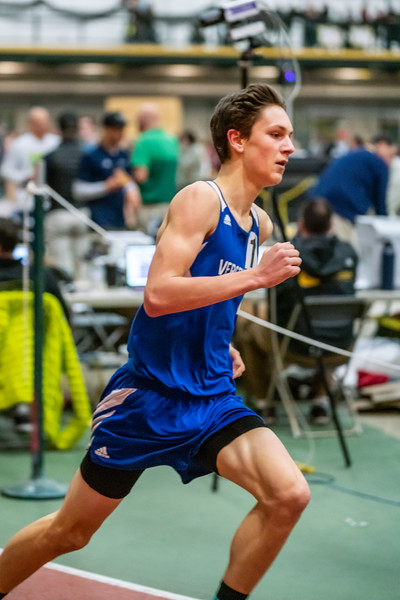 Junior Ben Huston running the 1000. Ben finished in first place with a time of 2:46.16. Vermont Division II Indoor Track State Championships - UVM Gutterson Field House - 2/16/2020/2020