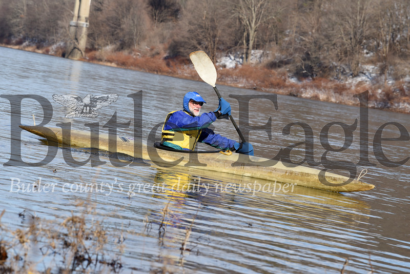 Harold Aughton/Butler Eagle: Mel Risinger, Jr., 68, of Parker took his first paddle of the year in the Allegheny River prior to the Parker Polar Plunge. This was Risinger's 11th year taking part in the event.