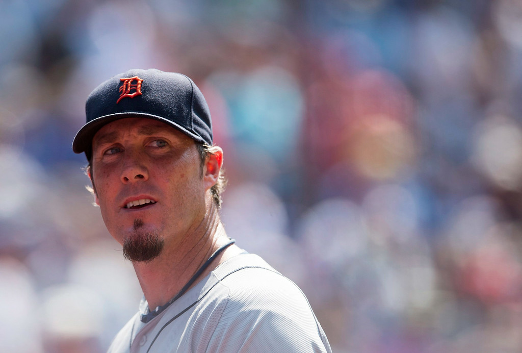 . Detroit Tigers closer Joe Nathan walks off the field after blowing a save opportunity in the ninth inning of a baseball game against the Toronto Blue Jays, Saturday, Aug. 9, 2014 in Toronto. The Blue Jays defeated the Tigers 3-2. (AP Photo/The Canadian Press, Darren Calabrese)