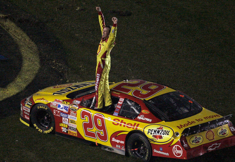 Description of . NASCAR driver Kevin Harvick celebrates after winning the Daytona 500 race Sunday afternoon Feb. 18, 2007 at the Daytona International Speedway in Daytona Beach, Fla. (AP Photo/Chris O\'Meara)