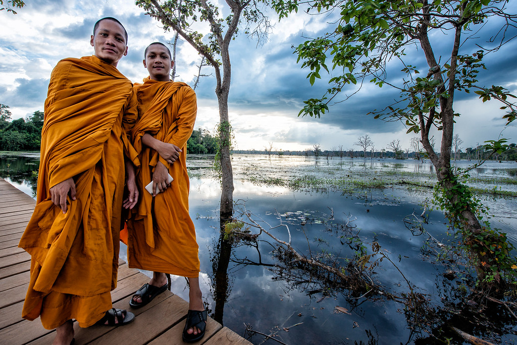 Monks Near Neak Pean, Siem Reap, Cambodia - 2015
