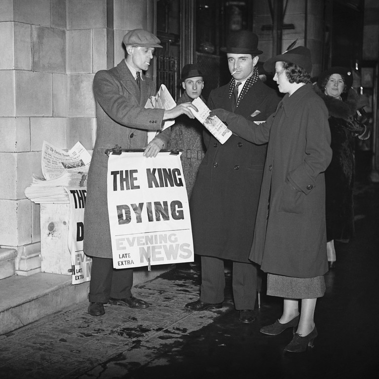 . Special extra editions of the evening papers were issued in London, on Jan. 20, 1936, when a later Bulletin that the King was dying, was made known. The rush for the later editions with newsboy displaying the grave news. (AP Photo)