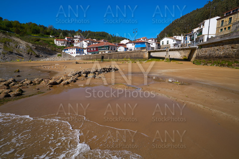 Tazones village skyline and beach Asturias Spain