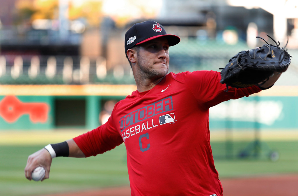 . Cleveland Indians catcher Yan Gomes throws during practice in Cleveland, Wednesday, Oct. 5, 2016. Cleveland meets the Boston Red Sox in Game 1 of baseball\'s American League Division Series Thursday. (AP Photo/David Dermer)