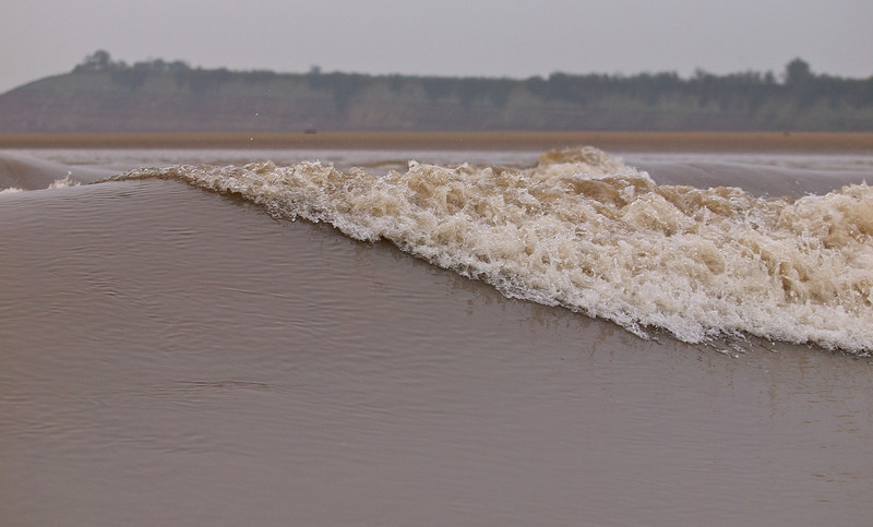 Close up of the Severn Bore wave.