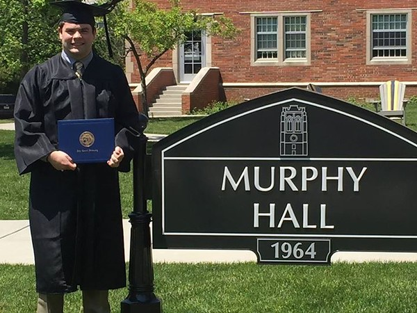 John Robert outside Murphy Hall -- May 22, 2016