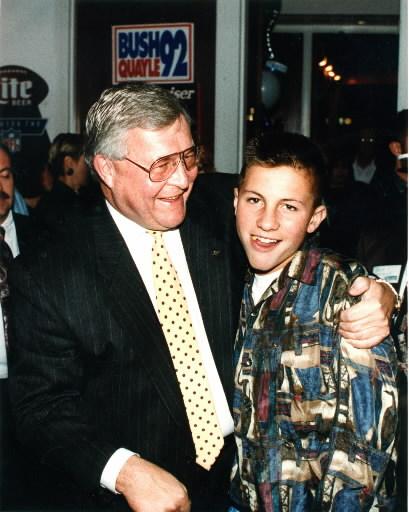 . FILE PHOTO: November 3, 1992.  L. Brooks Patterson with his son Brooks Stuart Patterson. The Oakland Press/TIM THOMPSON